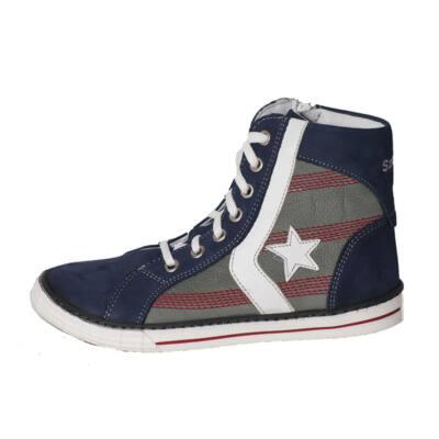 268025aaa2 Szamos fűzős, kék, csillagos, magasszárú cipő