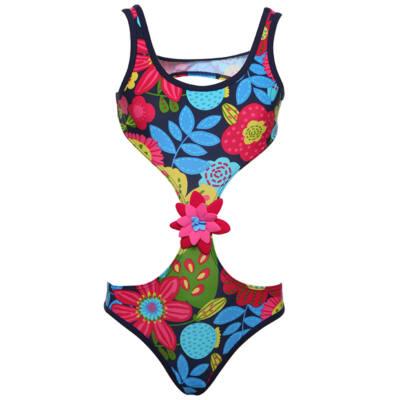 Sötétkék, színes virágos, Boboli, oldalt kivágott, lányka fürdőruha (122)