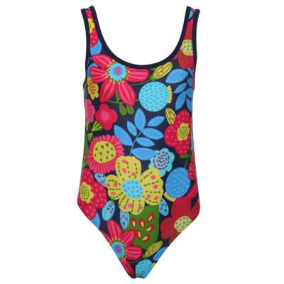 Sötétkék, színes virágos, Boboli, lányka fürdőruha (128)