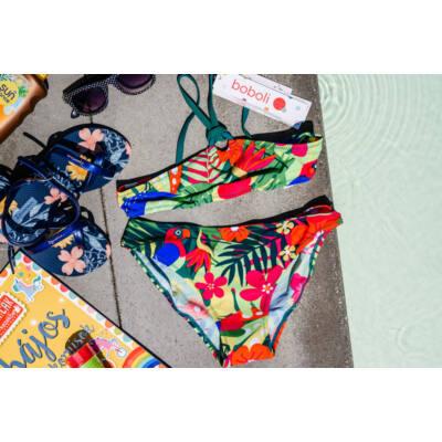 Zöld, virágos, papagályos, lányka, Boboli bikini (140)