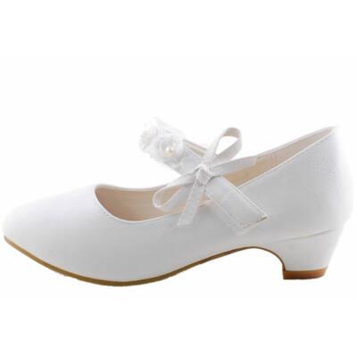 Fehér, virágos, lányka alkalmi cipő