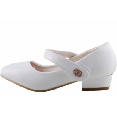 Fehér, csillogós, ezüst díszes, tépőzáras, kopogós cipő