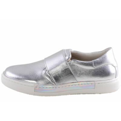 Asso Kids prémium, ezüst gumipántos lányka cipő