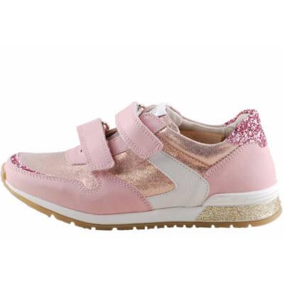 Rózsaszín, csillogós, bőr, lányka Asso prémium cipő