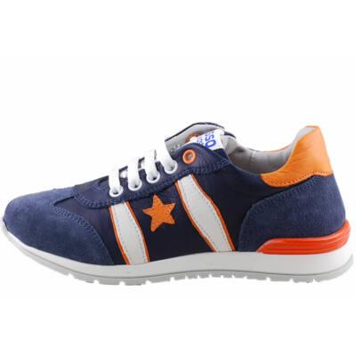 Kék, narancs csillagos,fűzős, cipzáras, Asso prémium cipő