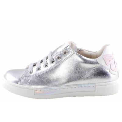 Ezüst, fűzős, cipzáras, Asso Kids prémium, lányka cipő