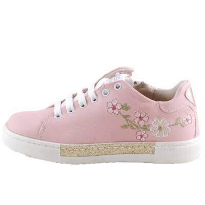 Rózsaszín, hímzett virágos, bőr, cipzáros-fűzős, prémium Asso cipő