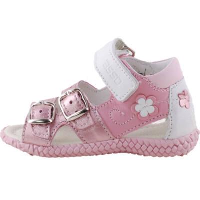 Csillogó rózsaszín, virágos, kislány, bőr, Asso gyerek szandál