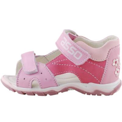 Pink-rózsaszín virágos, 2 tépőzáras, bőr, Asso gyerek szandál