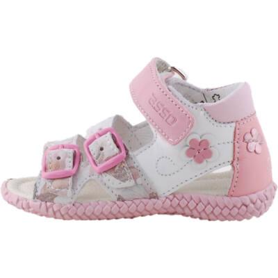 Fehér-krém-rózsaszín, virágos, bőr, Asso gyerek szandál