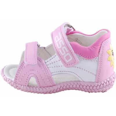Rózsaszín-fehér, napocskás, kislány, Asso szandál