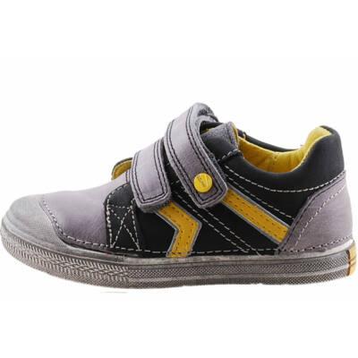 Szürke-fekete-sárga, nagy gumi orrú, bőr, D.D Step cipő