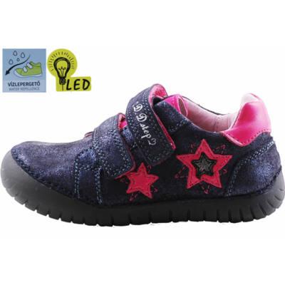 Sötétkék, vízlepergetős, pink csillagos, világító talpú, D.D.Step, bőr cipő