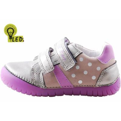 Bronz, lila pöttyös, világító talpú, D.D. Step cipő
