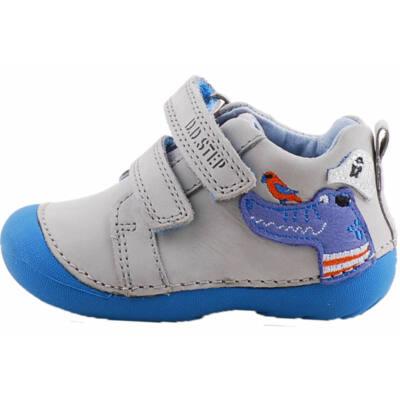 Világosszürke-kék, krokodilos, dd step cipő