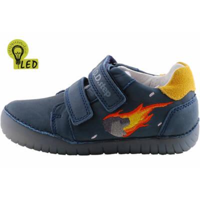 Sötétkék, tűzlángos, világító talpú, dd step cipő