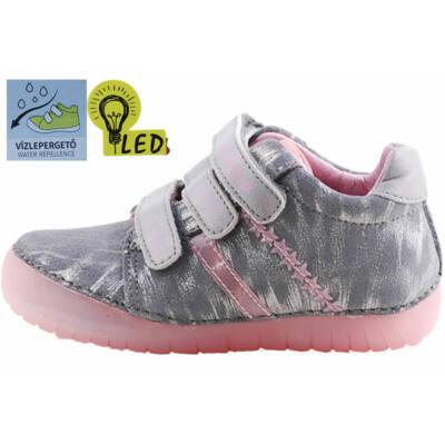 Szürke-rózsaszín csillagos, világító talpú, vízlepergetős, dd step cipő