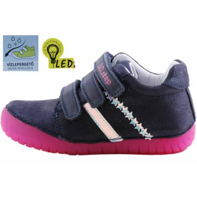 Csillogó kék-ezüst csillagos, világító talpú, vízlepergetős, dd step cipő