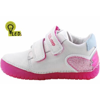 Csillogós fehér-rózsaszín, világító talpú, dd step cipő