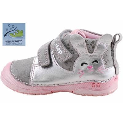 Ezüst-rózsaszín nyuszis, vízzáró réteggel kezelt, dd step cipő
