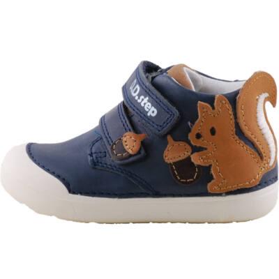 Sötétkék, mókusos, extra puha talpú, dd step cipő