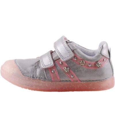 Ezüst-rózsaszín, rózsás, talpán csillogó flitteres, dd step cipő