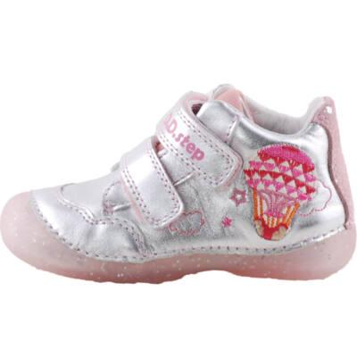 Ezüst, légballonos, talpán csillogó flitteres, dd step cipő
