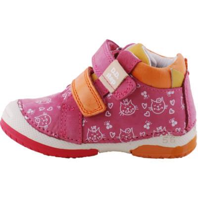 Pink-narancs, cicás, gumi orrú, dd step cipő