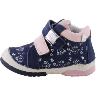 Kék-rózsaszín, cicás, gumi orrú, dd step cipő