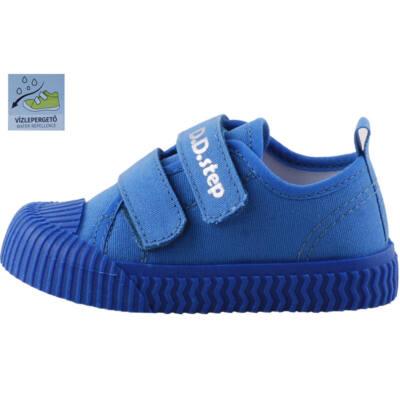 Kék, gumi orrú, bőr betétes, dd step, gyerek vászoncipő