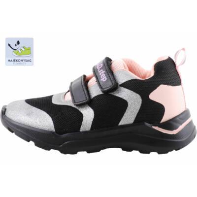 Fekete-ezüst-rózsaszín, hajlékony talpú, dd step edzőcipő