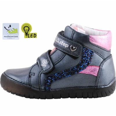 Grafitszürke-rózsaszín-kék, világítós dd step cipő