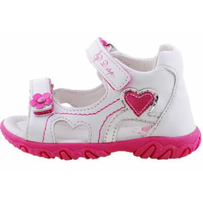 Fehér, pink szívecskés, dd step szandál