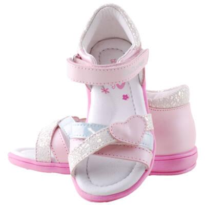 Rózsaszín-ezüst-kék, szívecskés, állítható tépőzáras, dd step szandál
