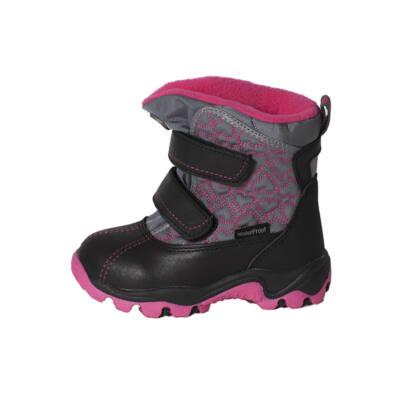 D.D.Step rózsaszín-fekete, bundás, vízálló bakancs