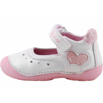 Ezüst, rózsaszín, szívecskés, dd step, pántos balerina