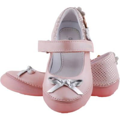 Rózsaszín, ezüst masnis, virágos, dd step balerina cipő