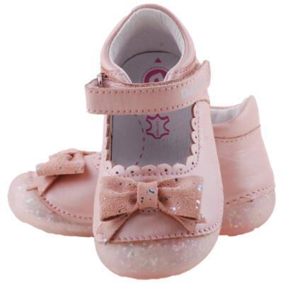 Rózsaszín, csillogós talpú, masnis, D.D. Step balerina cipő