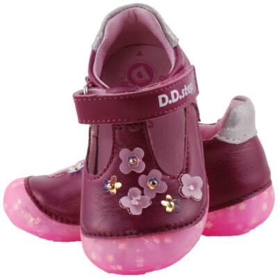 Lila, kisvirágos, csillogó talpú, dd step balerina