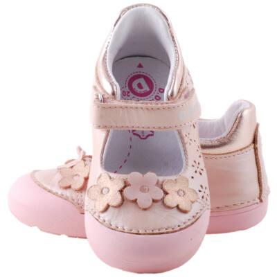 Rózsaszín, bronz virágos, gumi orrú dd step, pántos balerina