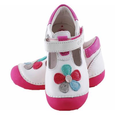 Fehér, színes virágos, nyitott, D.D.Step cipő