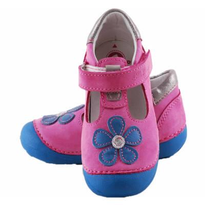 Pink, kék virágos, nyitott, D.D.Step cipő