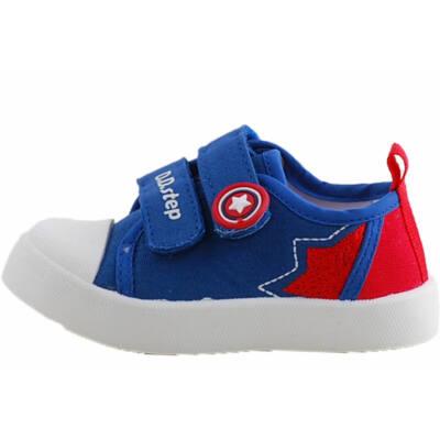 Kék, piros, csillagos, bőr betétes, D.D. Step vászoncipő