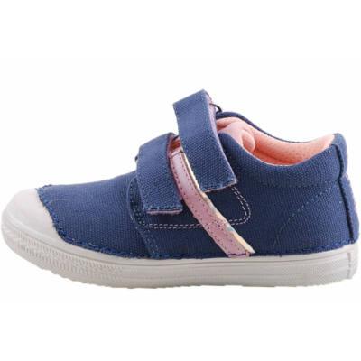 Sötétkék-rózsaszín, bőr betétes, dd step vászoncipő