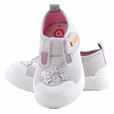 Szürke, ezüst virágos, bőr betétes, DD Step vászoncipő