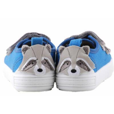 Kék-szürke, állatkás, bőr betétes, dd step vászoncipő