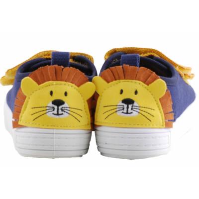 Kék-mustár, oroszlános, bőr betétes, dd step vászoncipő