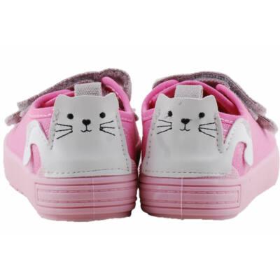 Rózsaszín, fehér cicás, bőr betétes, dd step vászoncipő