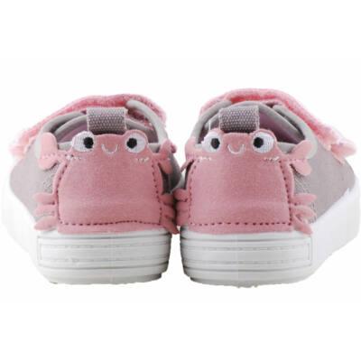 Szürke-rózsaszín, rákocskás, bőr betétes, dd step vászoncipő