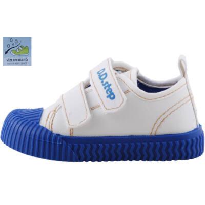 Fehér, kék talpú, bőr betétes, dd step vászoncipő